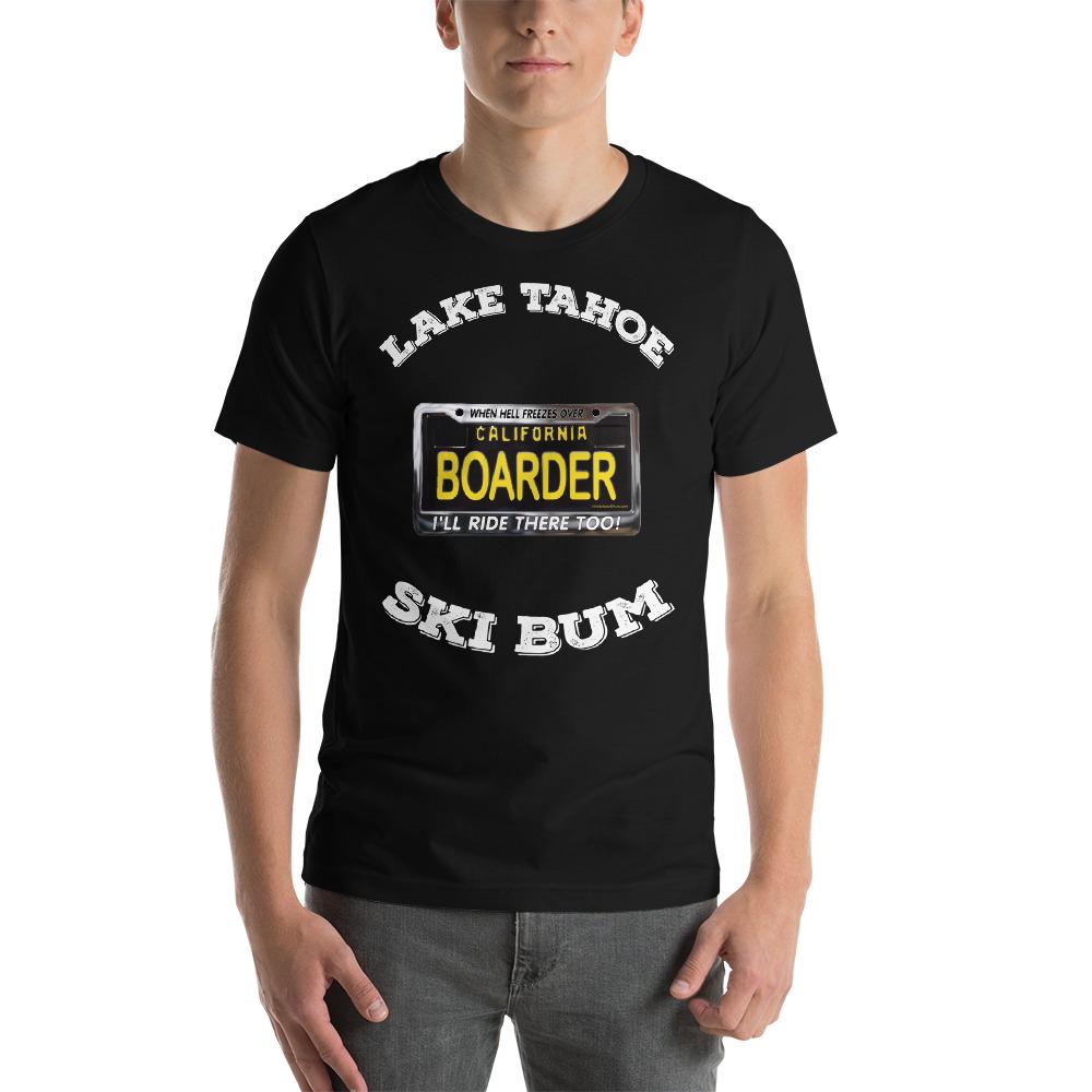 California Boarder Black License Plate T-Shirt, white text